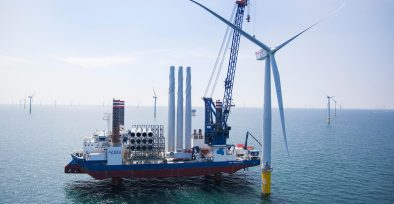 Part of the Scottish Power West of Duddon Sands Offshore wind farm under construction in the Irish Sea off the coast of Cumbria,. Image shot 2014. Exact date unknown.